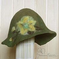 шапка для сауны, войлок, зеленый чай
